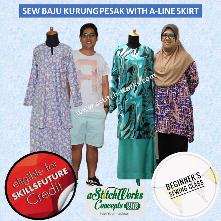 Sew Basic Baju Kurung Pesak with A-Line Skirt - CRS-N-0045302