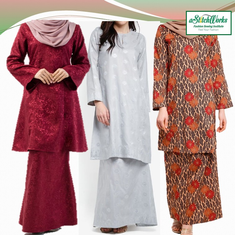 Sew Basic Lady Baju Kurung Pesak with A-Line Skirt